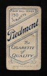 1909 T206  Fred Parent  Back Thumbnail