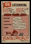 1956 Topps Flags of the World #56   Luxemburg Back Thumbnail