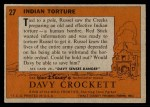 1956 Topps Davy Crockett #27 ORG  Indian Torture  Back Thumbnail