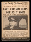1954 Topps Scoop #126   Carlsen Quits Sinking Ship Back Thumbnail