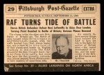 1954 Topps Scoop #29   Battle Of Britain  Back Thumbnail
