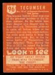 1952 Topps Look 'N See #96  Tecumseh  Back Thumbnail