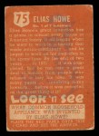 1952 Topps Look 'N See #75  Elias Howe  Back Thumbnail