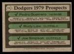 1979 Topps #719   -  Pedro Guerrero /Rudy Law / Joe Simpson Dodgers Prospects   Back Thumbnail