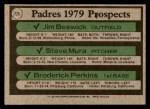 1979 Topps #725   -  Broderick Perkins / Steve Mura / Jim Beswick Padres Prospects   Back Thumbnail