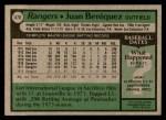 1979 Topps #478  Juan Beniquez  Back Thumbnail