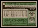 1979 Topps #71  Brian Downing  Back Thumbnail
