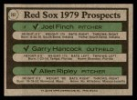 1979 Topps #702   -  Joel Finch / Garry Hancock / Allen Ripley Red Sox Prospects   Back Thumbnail