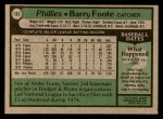 1979 Topps #161  Barry Foote  Back Thumbnail