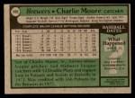 1979 Topps #408  Charlie Moore  Back Thumbnail