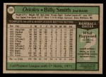 1979 Topps #237  Billy Smith  Back Thumbnail
