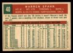 1959 Topps #40 ^B^ Warren Spahn  Back Thumbnail