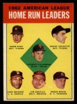 1963 Topps #4   -  Harmon Killebrew / Roger Maris / Norm Cash / Rocky Colavito / Jim Gentile / Leon Wagner AL HR Leaders Front Thumbnail