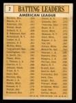 1963 Topps #2   -  Mickey Mantle / Chuck Hinton / Floyd Robinson / Pete Runnels / Norm Siebern AL Batting Leaders Back Thumbnail