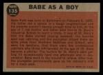 1962 Topps #135 A  -  Babe Ruth Babe as a Boy Back Thumbnail