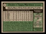 1979 Topps #491  Tippy Martinez  Back Thumbnail