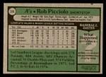 1979 Topps #378  Rob Picciolo  Back Thumbnail