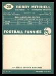 1960 Topps #25  Bobby Mitchell  Back Thumbnail
