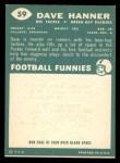 1960 Topps #59  Dave Hanner  Back Thumbnail