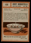 1962 Topps #108  Andy Robustelli  Back Thumbnail