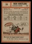 1962 Topps #29  Rich Kreitling  Back Thumbnail