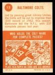1963 Topps #12   Colts Team Back Thumbnail