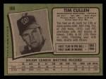 1971 Topps #566  Tim Cullen  Back Thumbnail