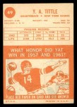 1963 Topps #49  Y.A. Tittle  Back Thumbnail