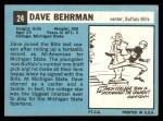 1964 Topps #24  Dave Behrman  Back Thumbnail