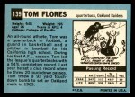 1964 Topps #139  Tom Flores  Back Thumbnail
