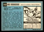 1964 Topps #143  Joe Krakoski  Back Thumbnail