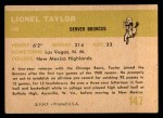 1961 Fleer #147  Lionel Taylor  Back Thumbnail