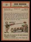 1962 Topps #31  John Morrow  Back Thumbnail