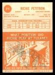 1963 Topps #71  Richie Petitbon  Back Thumbnail