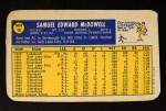1970 Topps Super #10  Sam McDowell  Back Thumbnail