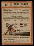 1962 Topps #63  Bart Starr  Back Thumbnail