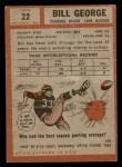 1962 Topps #22  Bill George  Back Thumbnail