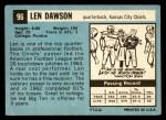 1964 Topps #96  Len Dawson  Back Thumbnail