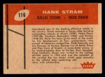 1960 Fleer #116  Hank Stram  Back Thumbnail