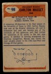 1955 Bowman #98  Carlton Massey  Back Thumbnail