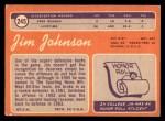1970 Topps #245  Jim Johnson  Back Thumbnail