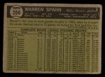 1961 Topps #200  Warren Spahn  Back Thumbnail