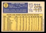 1970 Topps #391  Larry Brown  Back Thumbnail