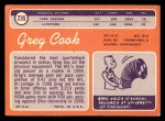 1970 Topps #235  Greg Cook  Back Thumbnail