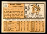 1963 Topps #223  Eddie Fisher  Back Thumbnail
