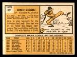 1963 Topps #321  Gino Cimoli  Back Thumbnail