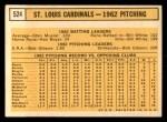 1963 Topps #524   Cardinals Team Back Thumbnail