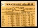 1963 Topps #312   Colt 45s Team Back Thumbnail
