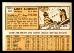 1963 Topps #174  Larry Burright  Back Thumbnail