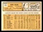 1963 Topps #119  Bob Lillis  Back Thumbnail